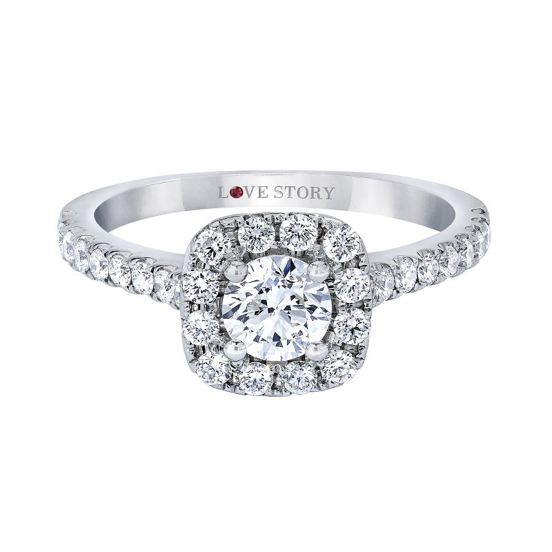 Love Story Cushion Halo Engagement Ring by Love Story