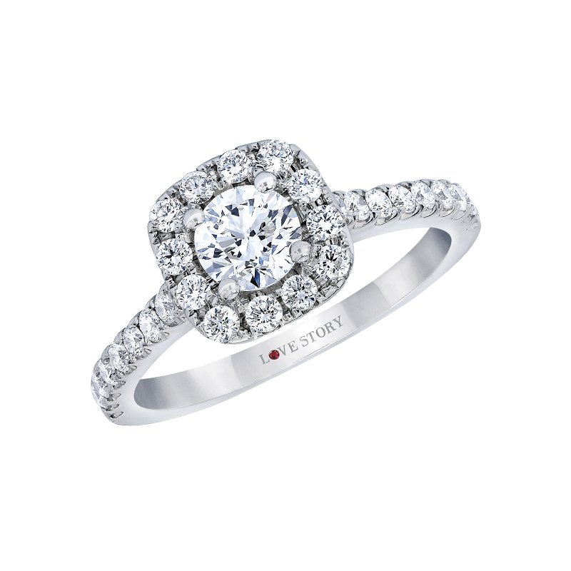 Cushion Halo Engagement Ring by Love Story