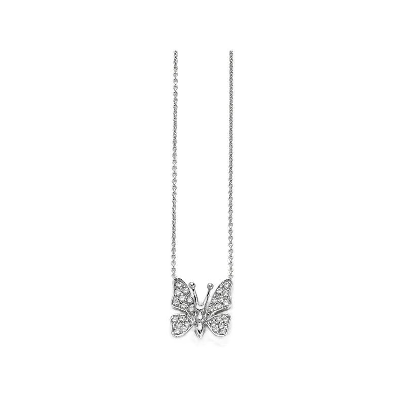 Roberto Coin 18Kt Gold Small Single Butterfly Pendant With Diamonds