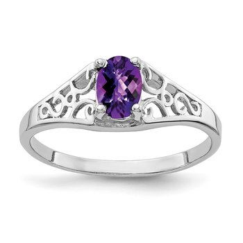 14k White Gold 6x4mm Oval Amethyst Checker ring