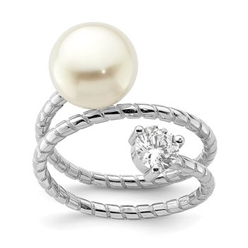Sterling Silver Rhod-plat 10-11mm White Button FWC Pearl CZ Adj. Ring