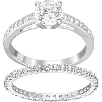 Attract Ring Set, White, Rhodium plated