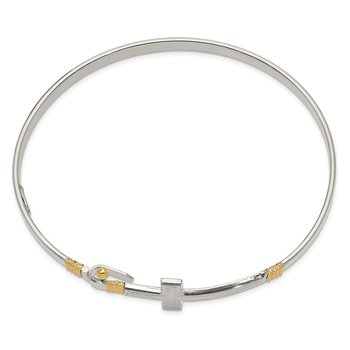 Sterling Silver 14k Yellow Gold Accent Cross Hook Catch Bangle