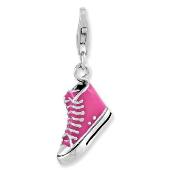 Sterling Silver Rhodium-plated 3-D Enameled High Top Shoe w/Lobster Clasp C