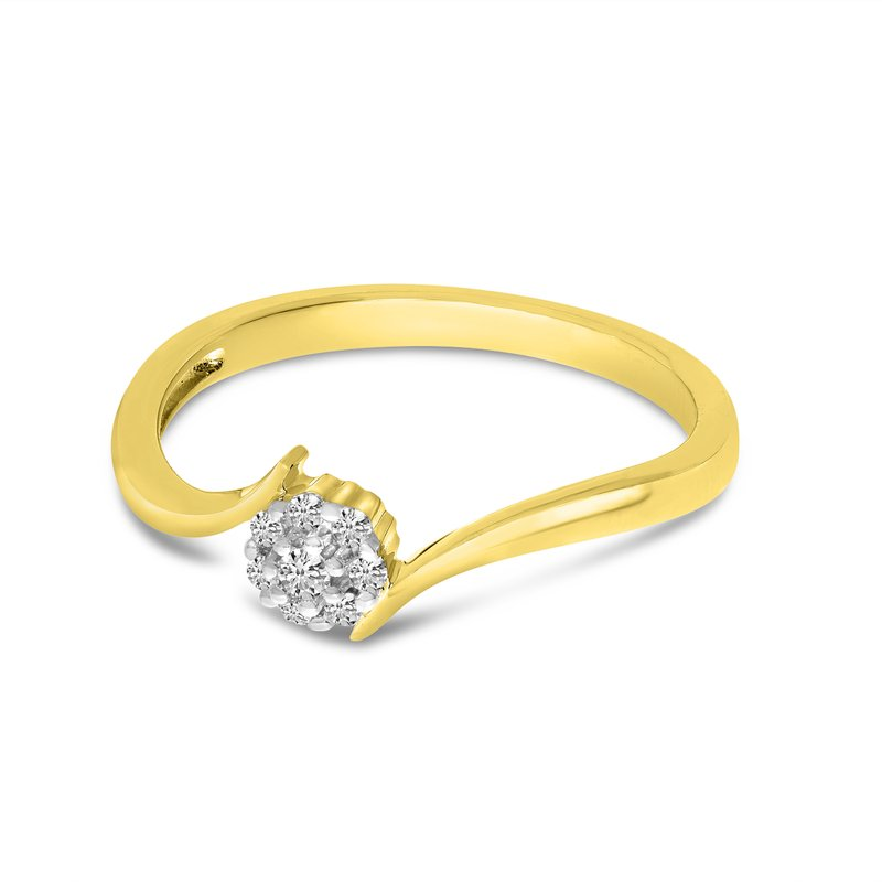 Color Merchants 10K Yellow Gold Diamond Cluster Ring
