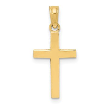 14k Beveled Cross Charm