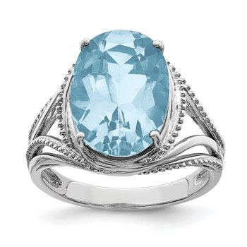 Sterling Silver Rhodium Sky Blue Topaz Ring