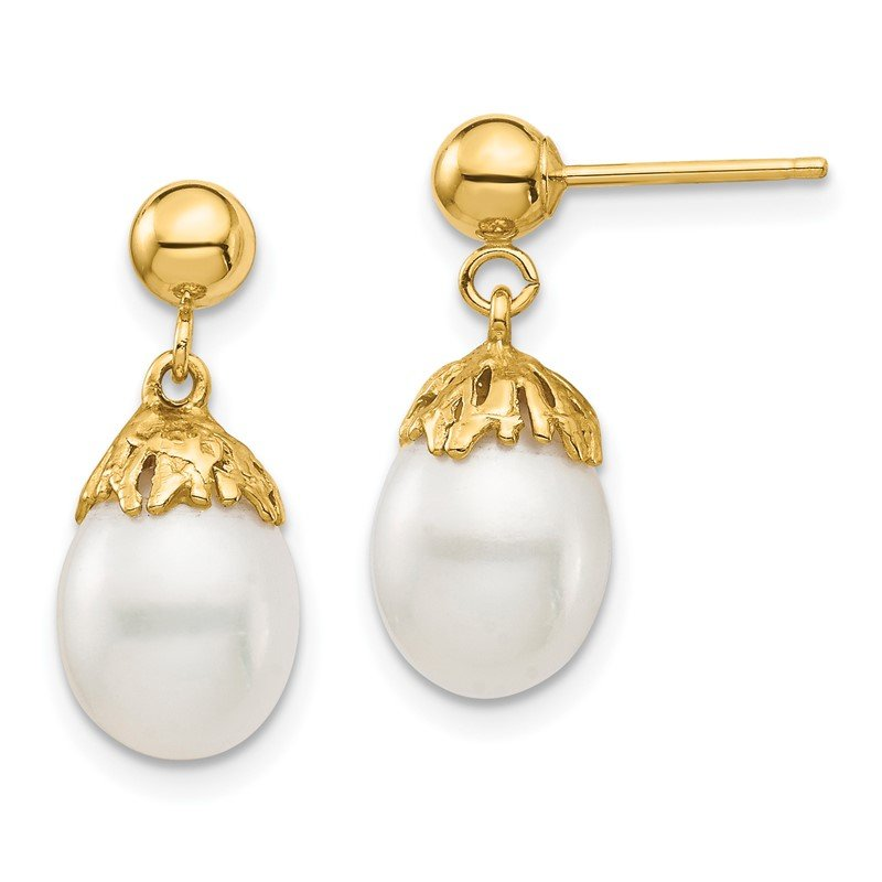 Quality Gold 14K 7-8mm White Rice Freshwater Cultured Pearl Dangle Post Earrings