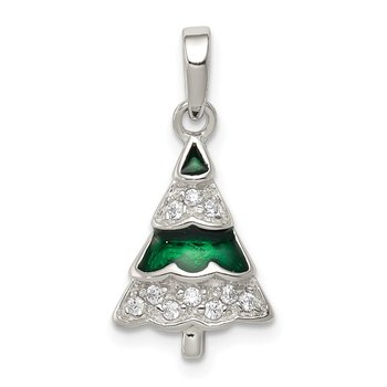 Sterling Silver Rhodium-plated CZ and Enameled Christmas Tree Pendant