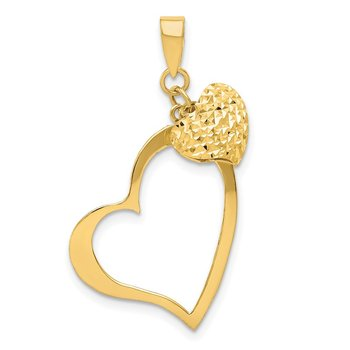 14K Polished and D/C Open and Puffed 3D Heart Pendant