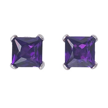 14k White Gold Square Amethyst Stud Earrings