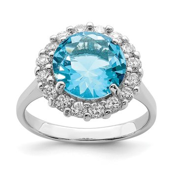Sterling Silver Rhodium-plated Blue & Clear CZ Ring