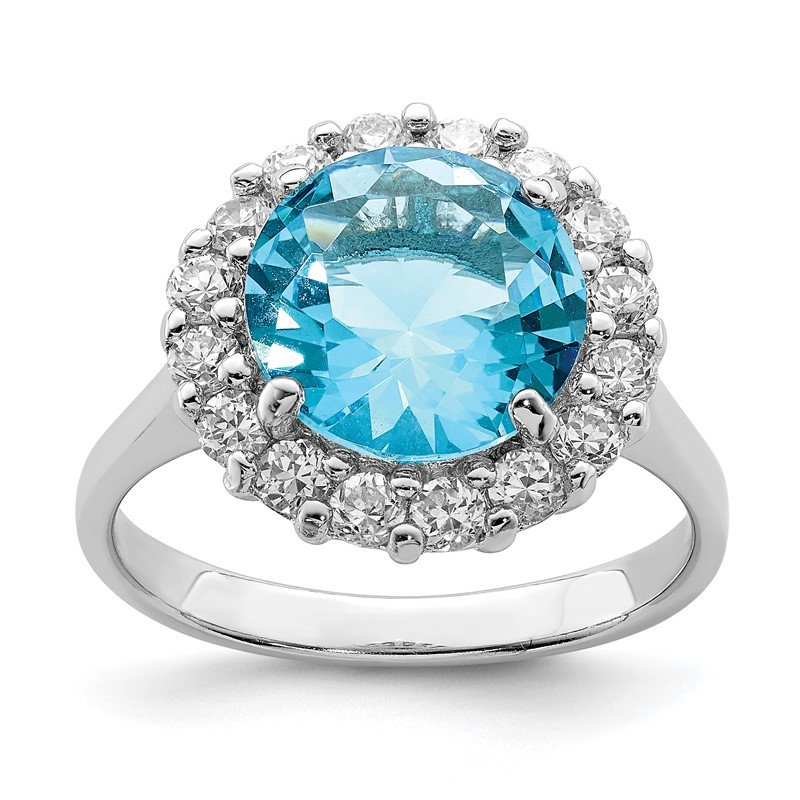 Quality Gold Sterling Silver Rhodium-plated Blue & Clear CZ Ring