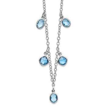 Sterling Silver Rhod-plat London and Sky Blue Topaz w/ 2in ext. Necklace