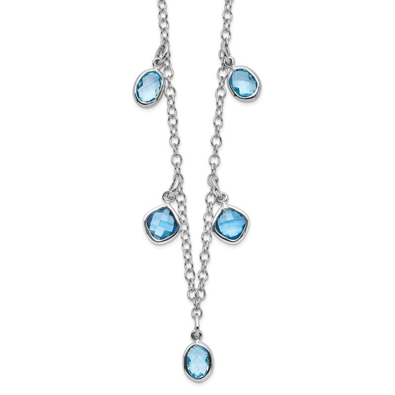 Quality Gold Sterling Silver Rhod-plat London and Sky Blue Topaz w/ 2in ext. Necklace