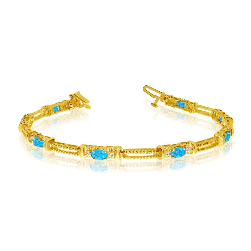 Color Merchants 10k Yellow Gold Natural Blue-Topaz And Diamond Tennis Bracelet