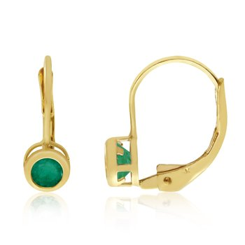 14k Yellow Gold 4mm Emerald Bezel Leverback Earrings