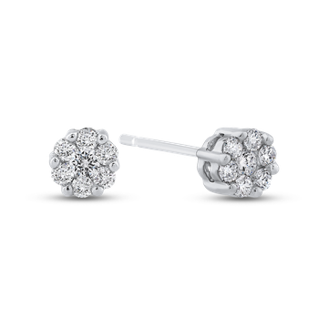 1/5 ct White Round Diamond Halo Stud Earrings