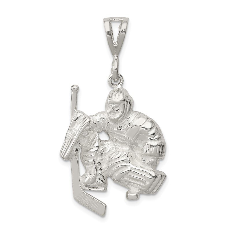 Quality Gold Sterling Silver Hockey Goalie Charm