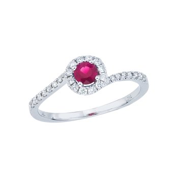 14k White Gold Ruby and Diamond Halo Swirl Ring