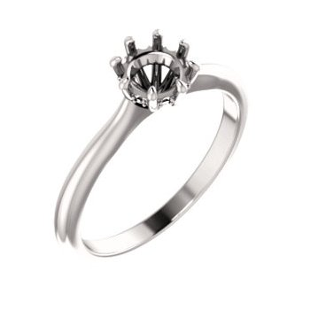 18K White 5.8 mm Round 8-Prong Engagement Ring Mounting