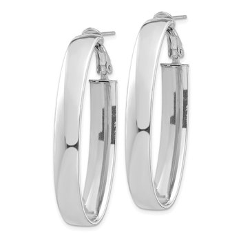 14k White Gold High Polished 7mm Omega Back Oval Hoop Earrings