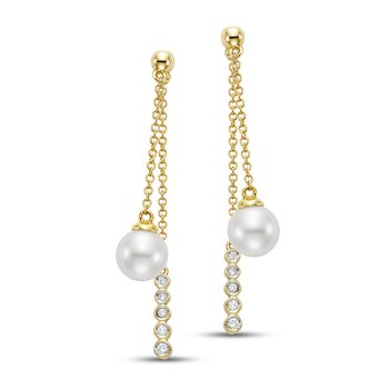 Caprice Bezel Chain Drop Earrings