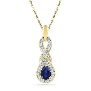 10kt Yellow Gold Womens Pear Lab-Created Blue Sapphire Solitaire Pendant 2/3 Cttw