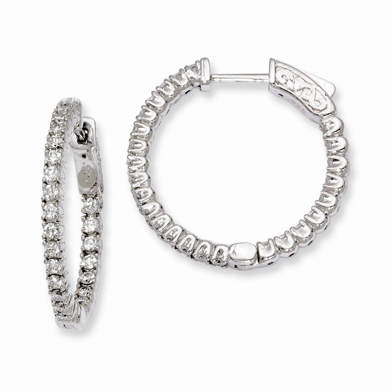 Quality Gold Sterling Silver Rhodium-plated CZ In and Out Round Hinged Hoop Earrings
