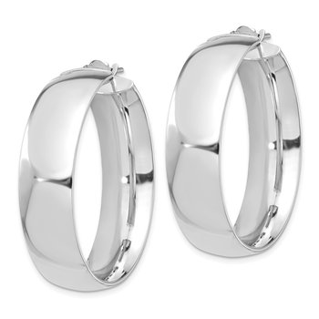 14k White Gold High Polished Large 10mm Hoop Earrings