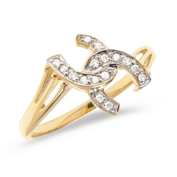 10K Yellow Gold Diamond Horseshoe Ring
