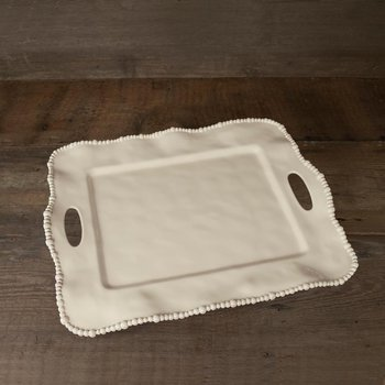 Alegria rect tray w/handles butter