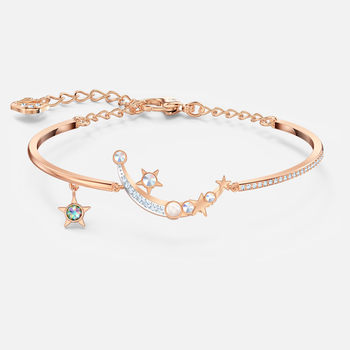Starry Night Moon Bangle, Light multi-colored, Rose-gold tone plated