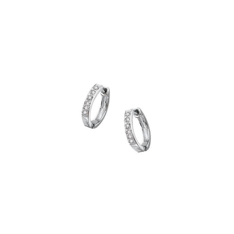 MAZZARESE Fashion Diamond Mini Hoop Earrings in 14k White Gold with 10 Diamonds weighing .10ct tw.