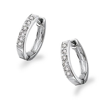 Diamond Mini Hoop Earrings in 14k White Gold with 10 Diamonds weighing .10ct tw.