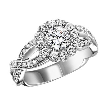 14K Diamond Engagement Ring 5/8 ctw With 3/4 ct Center