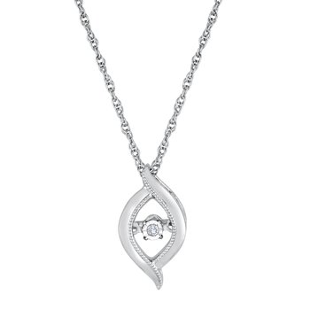Silver .01ctw Heartbeat Pendant With Miracle Plate