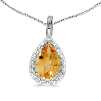 14k White Gold Pear Citrine Pendant