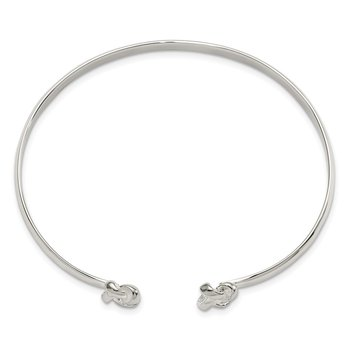 Sterling Silver Polished Love Knot Cuff Bracelet