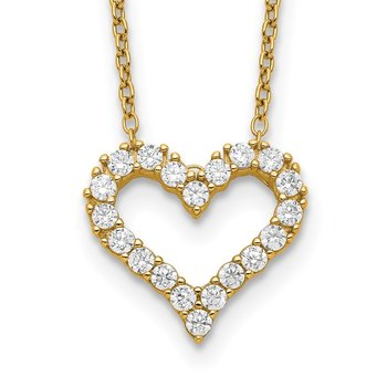 Sterling Silver Gold-tone CZ Heart w/ 2in ext. Necklace