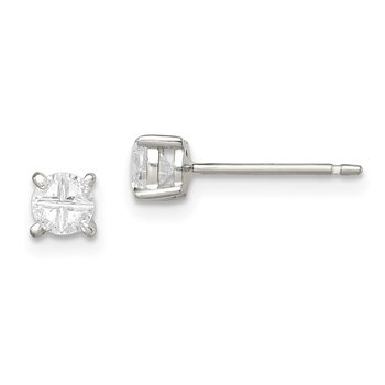 Sterling Silver 4mm Round Basket Set Cross-cut CZ Stud Earrings