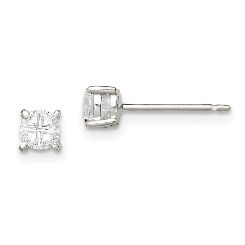 Quality Gold Sterling Silver 4mm Round Basket Set Cross-cut CZ Stud Earrings