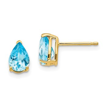 14k 7x5mm Pear Blue Topaz Earrings