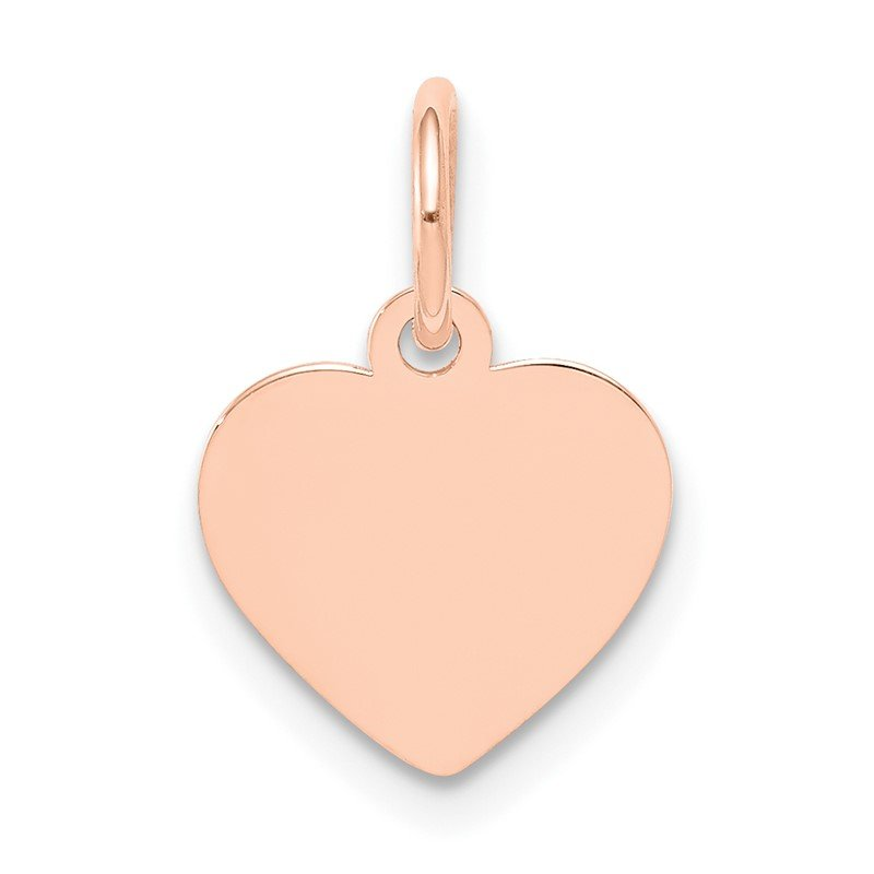 Quality Gold 14k Rose Gold Plain .011 Gauge Engraveable Heart Disc Charm