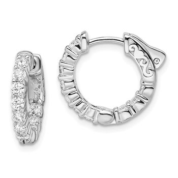 Sterling Silver Rhodium-plated CZ In & Out Hoop Earrings