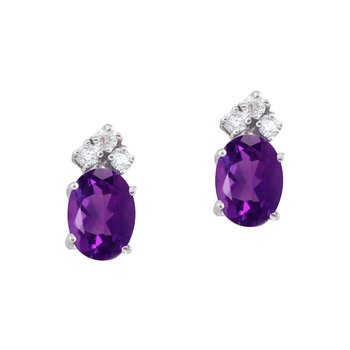 14k White Gold Amethyst and Diamond Oval Earrings