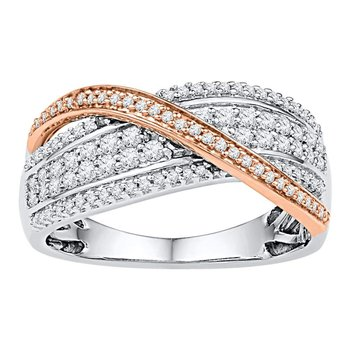 10kt Two-tone White Gold Womens Round Diamond Crossover Band Ring 1/2 Cttw
