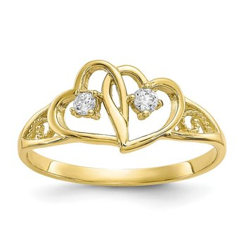 10k Double Heart CZ Ring