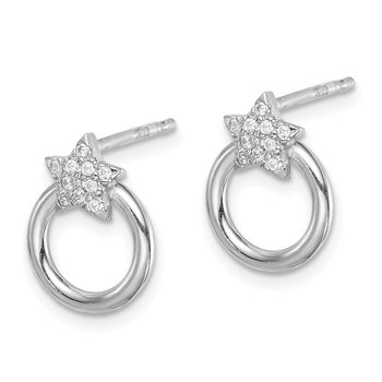 Sterling Silver Rhodium-plated CZ Star and Circle Post Earrings