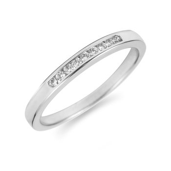 14K WG Diamond Channel Set 9 Round Stone Band 1/10 Ct